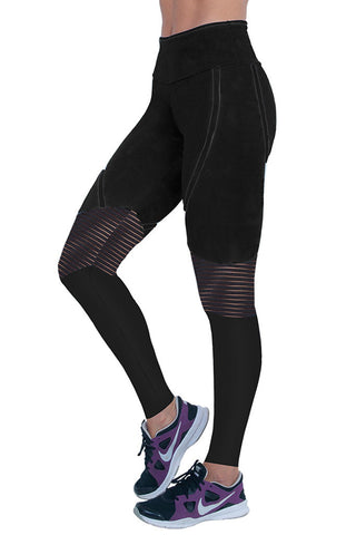 BIA BRAZIL Full Black Hollow Mesh Knee Panels Crossfit Leggings