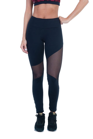 BIA BRAZIL Netted Mesh Leg Panels Black Workout Tights