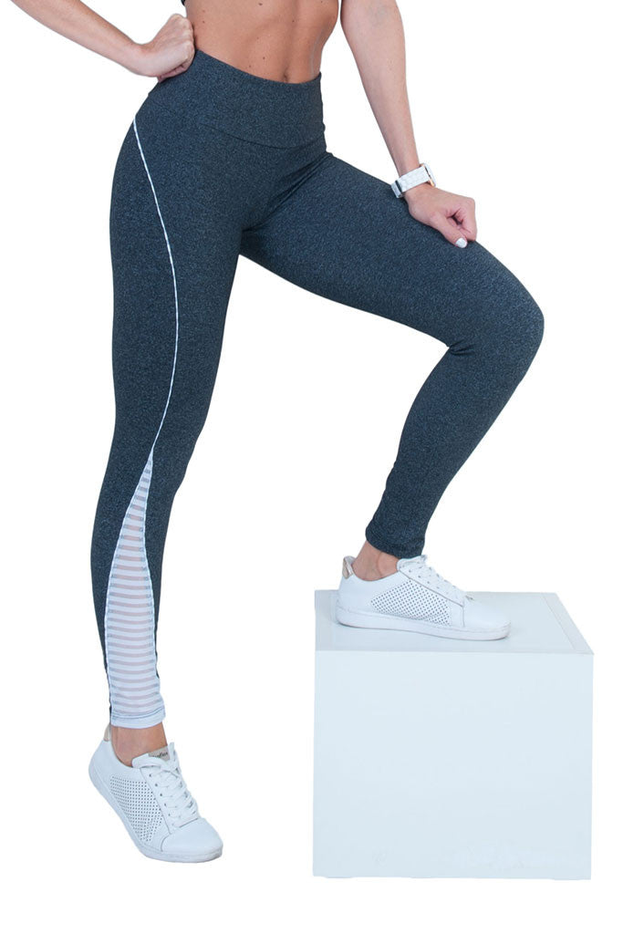 BIA BRAZIL White Hollow Mesh Panels Gray Gym Legging