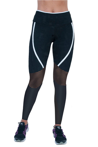 BIA BRAZIL White Stripes Hollow Mesh Knee Panels Black Crossfit Leggings