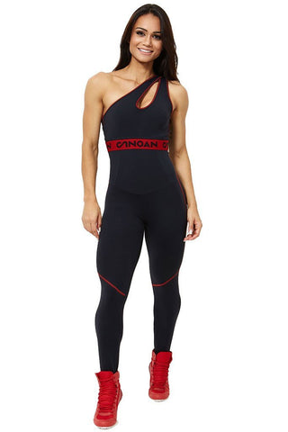 CANOAN Black & Red Athletic Crossfit Jumpsuit