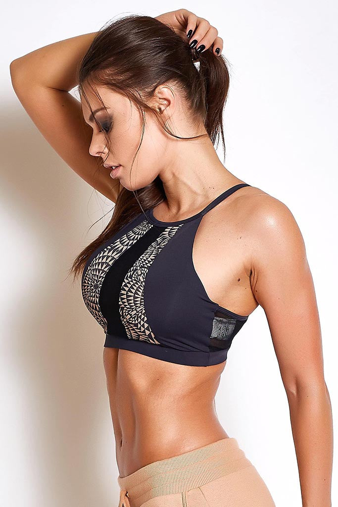 53da9046c COLCCI FITNESS Sexy Meshed Abstract Patterned Gym Bra | Specialità Fitness