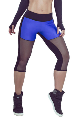 SUPERHOT Blue Move Meshed Thighs Workout Capri