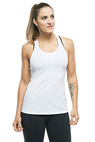 TRAILLINE Polly White Back Detailed Workout Tank