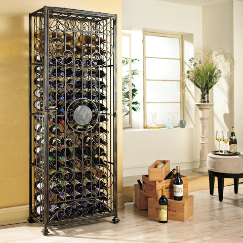 96-Bottle Antiqued Steel Wine Jail (Right Hinge Door)