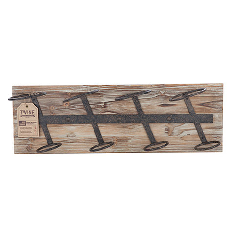 Rustic Farmhouse Wall Wine Rack - Wood and Metal