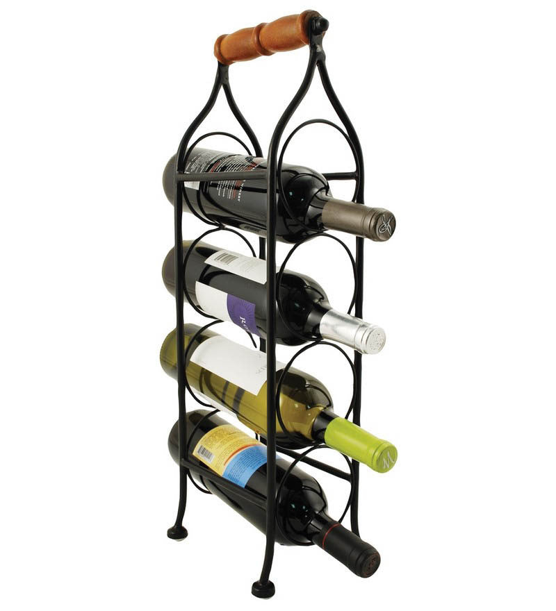 Boulevard 4 Bottle Climbing Tendril Wine Rack - Black
