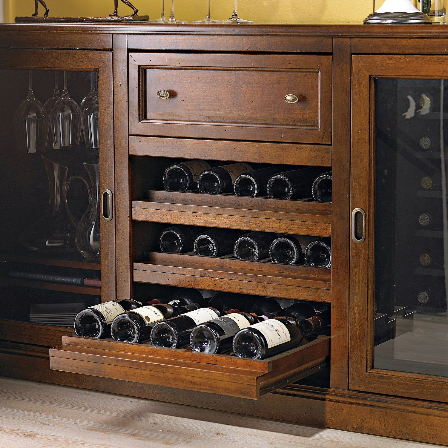 Siena Wine Credenza - Complete w/two 28 Bottle Touchscreen Wine Refrigerators