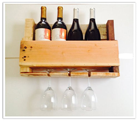 Reclaimed Pallet Wine Rack - 4 Bottle (NATURAL)