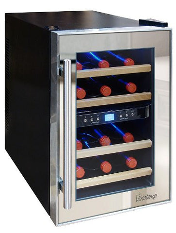 12 Bottle Dual Zone Wine Cooler - Mirrored