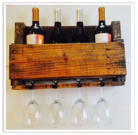Reclaimed Pallet Wine Rack - 4 Bottle (WALNUT)