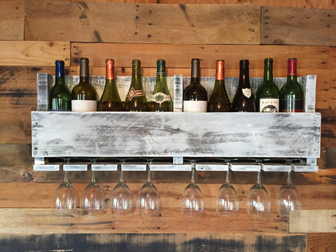 Reclaimed Pallet Wine Rack - 10 Bottle (Whitewash)