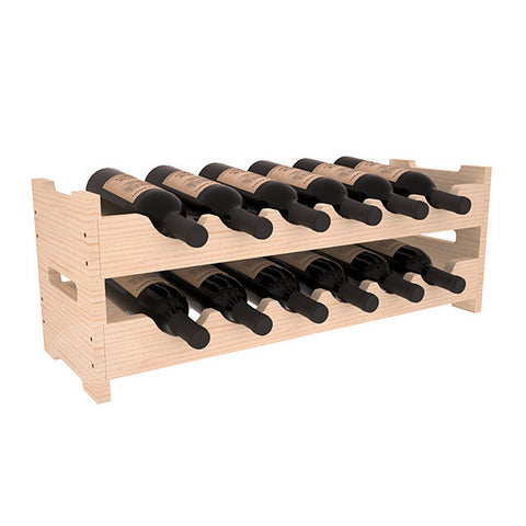 24 Bottle Stacking Lattice Cube - Pine