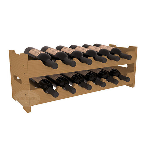 12 Bottle Mini Scalloped Wine Rack - Pine