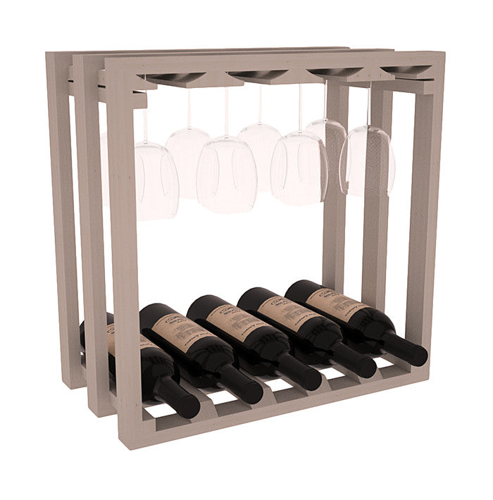 Lattice Stemware Rack with Bottles - Pine