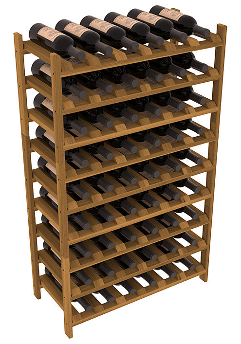 54 Bottle Stackable Wine Shelving - Redwood