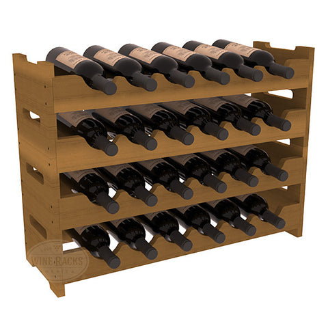 24 Bottle Mini Scalloped Wine Rack - Redwood