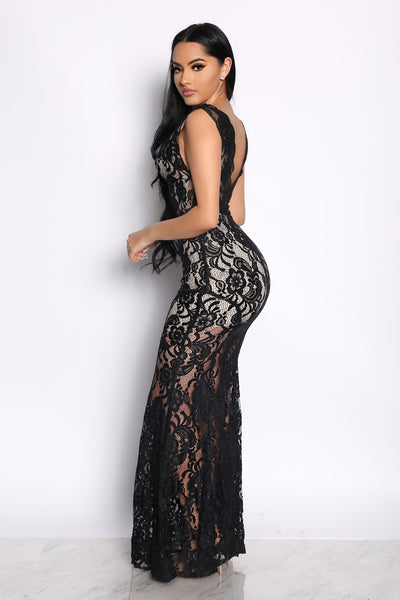 LACE GODDESS DRESS - BLACK