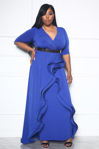 CITY RUNWAY PLUS DRESS - BLUE