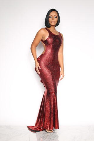 YOURS TRULY RUFFLE LONG DRESS - METALLIC RED