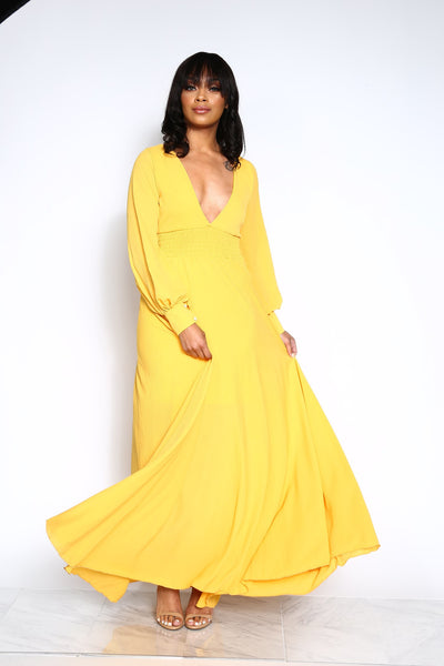 THE RIGHT OCCASION MAXI DRESS - MUSTARD