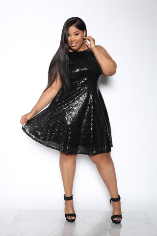 ALL THAT GLITTERS PLUS DRESS - BLACK