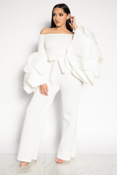 LEADING ROLE OFF THE SHOULDER JUMPSUIT - WHITE/BLACK