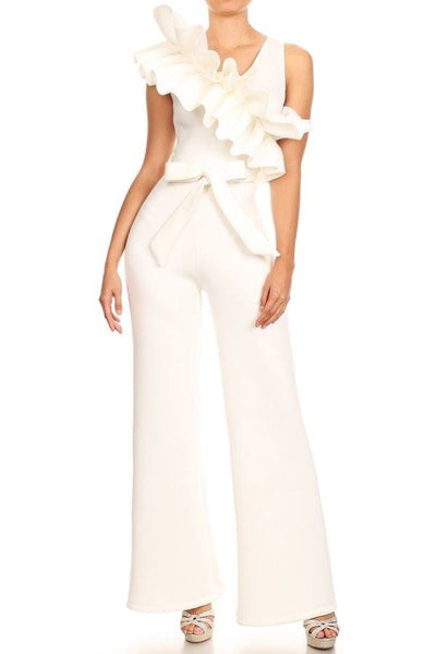 OVER INDULGE RUFFLE JUMPSUIT - WHITE