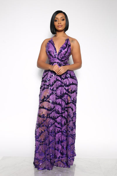 MISS CHAUFFEUR SEQUIN DRESS - PURPLE