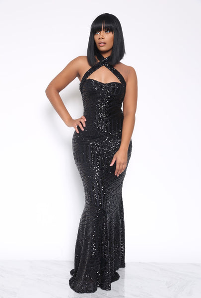 NECK BREAKER SEQUIN DRESS - BLACK