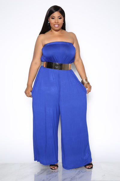 SIMPLICITY OFF THE SHOULDER PLUS JUMPSUIT - BLUE