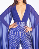SLAY THE RUNWAY SEQUIN JUMPSUIT - ASTER BLUE/ORANGE (CUSTOM)