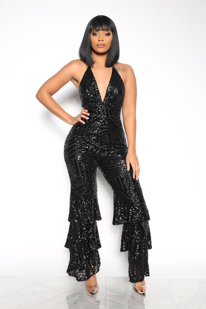 f077b5fe4e FEMME FATALE SEQUIN RUFFLE JUMPSUIT - BLACK (CUSTOM) – Intertwine Collection