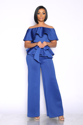 NEW LEVELS PEPLUM JUMPSUIT - BLUE