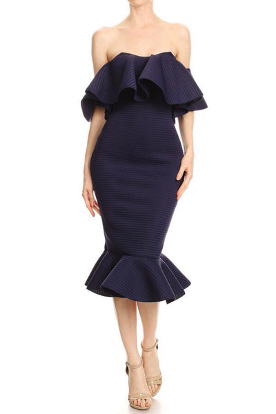 SEX IN THE CITY 2 RUFFLE DRESS - NAVY STRIPE