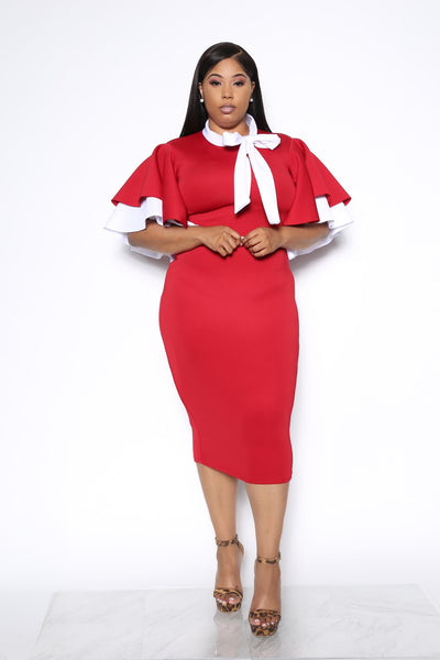 SHES IN CHARGE PLUS DRESS - RED