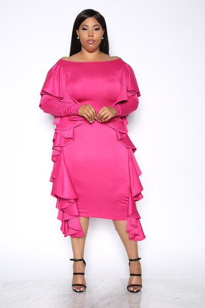 GOT CLASS RUFFLE PLUS DRESS - PINK