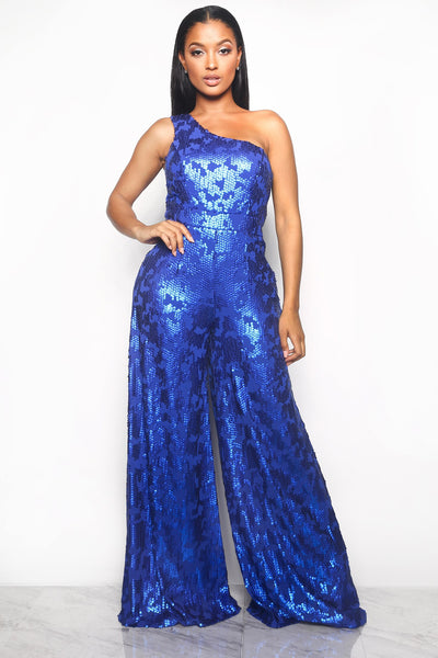 FRONT ROW SEQUIN JUMPSUIT - BLUE (CUSTOM)