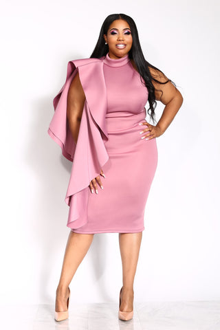 A STATEMENT PLUS DRESS - MAUVE