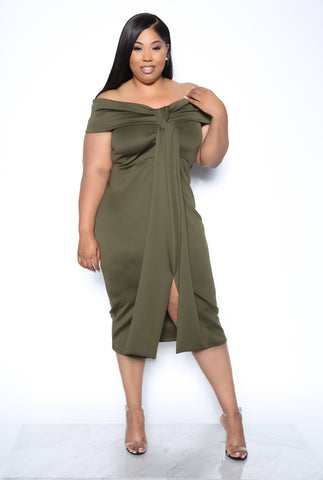 FINAL CUT PLUS DRESS - OLIVE