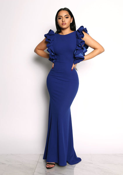 LIMELIGHT RUFFLE DRESS - BLUE