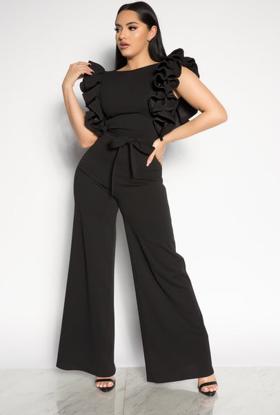 LIMELIGHT JUMPSUIT - BLACK/ RED