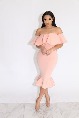 SEX IN THE CITY 2 RUFFLE DRESS - BLUSH PINK
