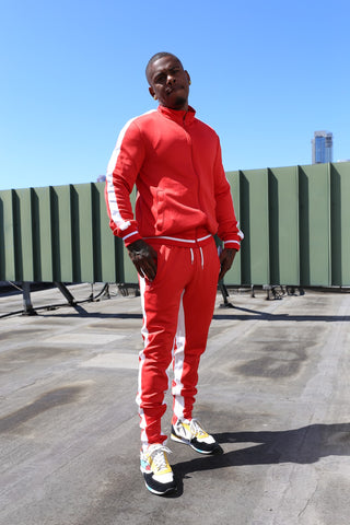 RED & WHITE INTERTWINE MEN SWEATSUIT