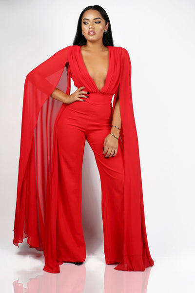 SLAY THE RUNWAY JUMPSUIT - RED