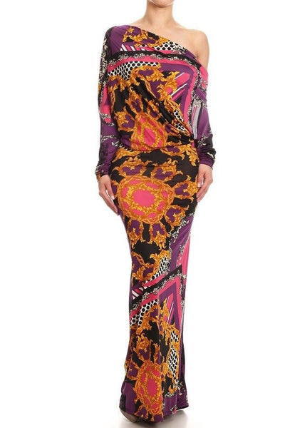 HIGHER POWER PLUNGING MAXI DRESS - PURPLE