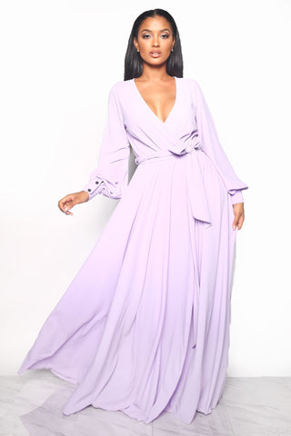 WALKING ON SUNSET MAXI DRESS - LAVENDER/FUCHSIA/ROYAL BLUE