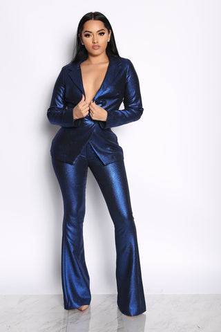 THE PRESIDENTIAL METALLIC TWO PIECE SUIT- BLUE