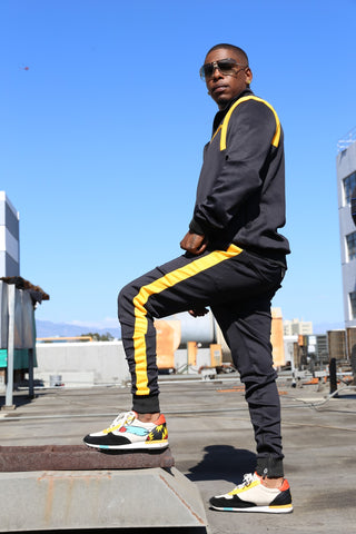BLACK & YELLOW MEN SWEATSUIT