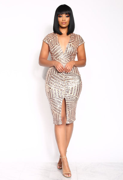 THE VISIONARY SEQUIN DRESS - GOLD/BLACK